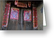 Asian Architecture And Art Greeting Cards - Painted Chinese Door Gods On A Door Greeting Card by Raymond Gehman