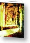 Arcade Digital Art Greeting Cards - Painted Colonnade Greeting Card by Andrea Barbieri