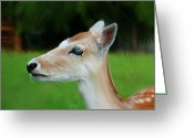 Does. Winter Greeting Cards - Painted Deer Greeting Card by Mariola Bitner