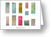 Blue Sculpture Greeting Cards - Painted Doors and Window Panes Greeting Card by Asha Carolyn Young and Daniel Furon