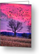 Sunset Scenes. Digital Art Greeting Cards - Painted Flight Greeting Card by Emily Stauring