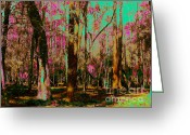 Jensen Beach Greeting Cards - Painted Forest Greeting Card by Keri West