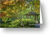 Japanese Maple Greeting Cards - Painted Gardens Greeting Card by Joan Carroll