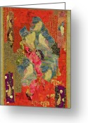 Wall Quilt Tapestries - Textiles Greeting Cards - Painted Geisha Greeting Card by Roberta Baker