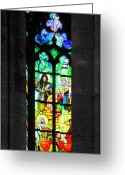 Wall-art Greeting Cards - Painted glass - Alfons Mucha  - St. Vitus Cathedral Prague Greeting Card by Christine Till
