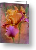 Iris Art Mixed Media Greeting Cards - Painted Goddess - Iris Greeting Card by Carol Cavalaris