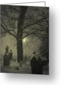 Graveyards Greeting Cards - Painted Graveyard Greeting Card by Emily Stauring