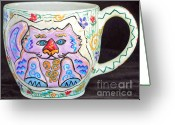 Wheel Thrown Greeting Cards - Painted Kitty Mug Greeting Card by Joyce Jackson