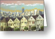 Aquarel Greeting Cards - Painted Ladies - Alamo Square San Francisco Greeting Card by Peter Art Prints Posters Gallery