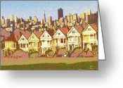 Residential Drawings Greeting Cards - Painted Ladies - San Francisco Greeting Card by Peter Art Prints Posters Gallery