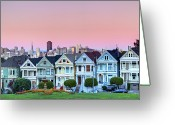 San Francisco Photo Greeting Cards - Painted Ladies At Dusk Greeting Card by Photo by Jim Boud