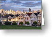 San Francisco Greeting Cards - Painted Ladies in SF California Greeting Card by Pierre Leclerc
