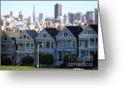 Blue House Greeting Cards - Painted Ladies Greeting Card by Linda Woods