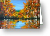 Lakescape Greeting Cards - Painted Lake Greeting Card by Pete Maier