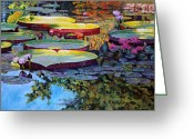 Lilies Flowers Greeting Cards - Painted Moments Greeting Card by John Lautermilch