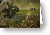 Vintage Photographs Greeting Cards - Painted Plains  Greeting Card by Jerry Cordeiro