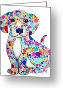 Doggy Greeting Cards - Painted Puppy Greeting Card by Nick Gustafson