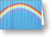 Fence Greeting Cards - Painted Rainbow On Wooden Fence Greeting Card by Richard Newstead