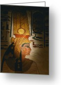 Antiquities And Artifacts Greeting Cards - Painted Relief, Nefertari Tomb, Valley Greeting Card by Kenneth Garrett