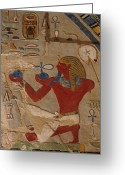 African Heritage Greeting Cards - Painted Relief Of Thutmosis Iii Greeting Card by Kenneth Garrett