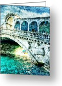 Arcade Digital Art Greeting Cards - Painted Rialto Greeting Card by Andrea Barbieri