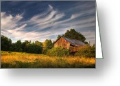 Wooden Barns Greeting Cards - Painted Sky Barn Greeting Card by Benanne Stiens