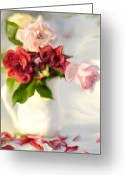 Roses Petals Greeting Cards - Painted Teas Greeting Card by Linde Townsend
