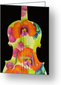 Pod Mixed Media Greeting Cards - Painted Violin Greeting Card by Elizabeth Elequin