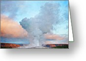 Solstice Greeting Cards - Painterly Old Faithful, Yellowstone National Park Greeting Card by Trina Dopp Photography