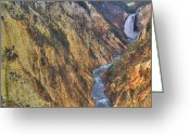 Lower Yellowstone Falls Greeting Cards - Painters Point Yellowstone National Park Greeting Card by Brad Scott