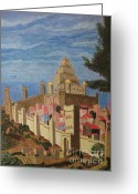 Egg Tempera Greeting Cards - Painting   Medieval City Greeting Card by Judy Via-Wolff