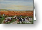 Caron Greeting Cards - Painting Cows on Cors Caron Greeting Card by Edward McNaught-Davis