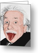 Paper Digital Art Greeting Cards - Painting Of Albert Einstein Greeting Card by Setsiri Silapasuwanchai