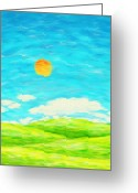 Blue Art Pastels Greeting Cards - Painting Of Nature In Spring And Summer Greeting Card by Setsiri Silapasuwanchai