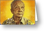 Emotion Art Greeting Cards - Painting Of Old Man Greeting Card by Setsiri Silapasuwanchai