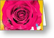 Blossom Digital Art Greeting Cards - Painting Of Single Rose Greeting Card by Setsiri Silapasuwanchai