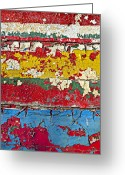 Cracks Greeting Cards - Painting peeling wall Greeting Card by Garry Gay