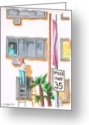 Los Angeles Painting Greeting Cards - Painting-Sunset-Blvd-West-Hollywood-CA Greeting Card by Carlos G Groppa
