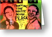 Conservative Greeting Cards - Painting The White House Black Greeting Card by Tony B Conscious