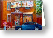 Store Fronts Greeting Cards - Paintings Of Montreal Fairmount Bagel Shop Greeting Card by Carole Spandau