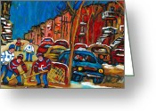 Hockey Street Scenes In Montreal Greeting Cards - Paintings Of Montreal Hockey City Scenes Greeting Card by Carole Spandau