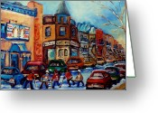 Hockey Painting Greeting Cards - Paintings Of Montreal Hockey On Fairmount Street Greeting Card by Carole Spandau