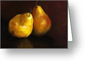 Two Pears Greeting Cards - Pair of Pears Greeting Card by Cari Humphry