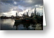Gloaming Greeting Cards - Pakpanang Fishing  Greeting Card by Therdsak Phongsureeyanan