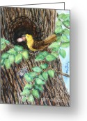 Lovebird Painting Greeting Cards - Palace in the Tree with Cicada Song Greeting Card by Phong Trinh