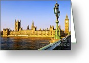 Big Ben Greeting Cards - Palace of Westminster from bridge Greeting Card by Elena Elisseeva