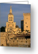 South Of France Greeting Cards - Palais des Papes en Avignon. Greeting Card by Bernard Jaubert