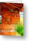 Image Gypsies Greeting Cards - Palapa and Palm by Michael Fitzpatrick Greeting Card by Olden Mexico