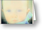 Droid Greeting Cards - Pale Baby Blues #baby #blue #eyes Greeting Card by Marianne Dow