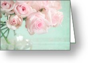 Pastel Roses Greeting Cards - Pale Pink Roses Greeting Card by Lyn Randle